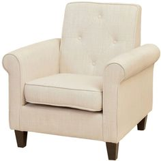 Isaac Tufted Beige Fabric Club Chair ($370) ❤ liked on Polyvore featuring home, furniture, chairs, accent chairs, seating, beige, upholstered chair, fabric accent chairs, cream accent chair and cream chair