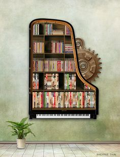 Steampunk Piano Bookshelf by shaire productions, via Flickr