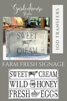 IOD Transfers Farm Fresh Signage - allows you to make your own farmhouse signs or customize your other accessories with these diy vintage transfers. Furniture transfers and furniture rub-ons make custom decor an easy diy! Gardenhouse Studio Print Advertising, Advertising Campaign, Print Ads, Farmhouse Signs, Farmhouse Decor, Diy Home Accessories, Iron Orchid Designs, Farm Signs, Guerrilla Marketing