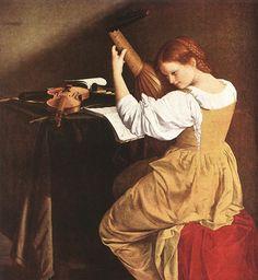 """Orazio Gentileschi, """"Suonatrice di liuto"""" 1625"""