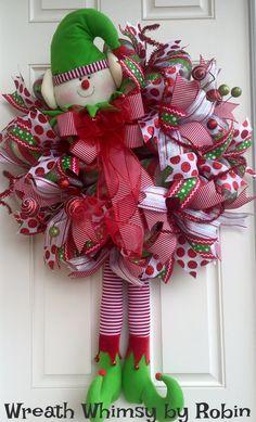 XL Deco Mesh Holiday Elf Wreath in Red and por WreathWhimsybyRobin