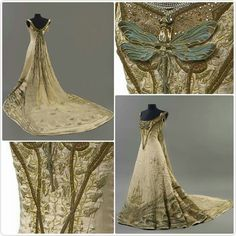 """Bord de Rivière au Printemps,"" Riverside in Spring,1901 dress designed by French architect, painter and sculptor, Victor Prouvé. It was exhibited at the Salon de la Sociéte National des Beaux-Arts. It features art nouveau embroidery with a Spring theme. It is now on display in the museum of The School of Nancy in France."
