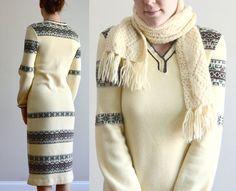 Knit dress Geometric pattern Size small / medium by laMarmotaCafe, $225.00