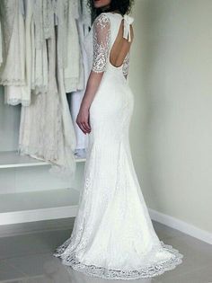 Half sleeve wedding dress