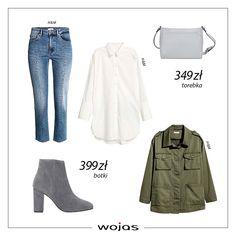 73a12b3530eb6 Biała koszula idealnie współgra z niebieskimi jeansami. Kurtka w kolorze  khaki z patkami na ramionach