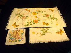 Vintage Bath Hand Towel Wash Cloth CANNON Gold Label Butterfly Flower Retro Lot