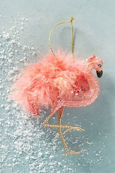 Feathered Flamingo Ornament #anthropologie