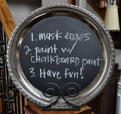 Chalkboard tray instructions