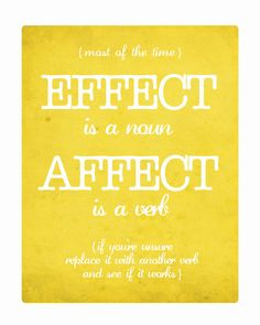 EFFECT/AFFECT, Grammar 8x10 Fine Art Print, by SouthernSlang, $12.00. Help your little one remember the correct usage with this stylish art print!