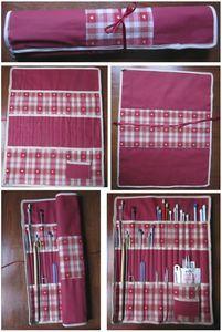 Pochette pour aiguilles à tricoter. Ce que j'ai réalisé, mais avec couleurs différentes. Diy Knitting Needle Case, Knitting Needles, Sewing Hacks, Sewing Projects, Jean Crafts, Cute Christmas Gifts, Pen Case, Craft Organization, Cloth Bags