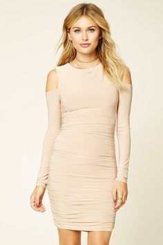 Forever 21 Contemporary - A knit bodycon dress featuring side ruching, open-shoulder long sleeves, and a round neckline.