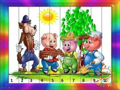 Preschool Puzzles, Counting Puzzles, Maths Puzzles, Preschool Books, Math Games, Activities For Kids, Crafts For Kids, Three Little Pigs, Bird Crafts