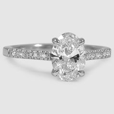 Platinum Lissome Diamond Ring // Set with a 0.84 Carat, Oval, Super Ideal Cut, F Color, IF Clarity Diamond (Modified with Oval Shape) #BrilliantEarth