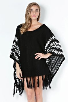 Urban People Catching The Train Black Ivory Slouchy Poncho/Sweater Medium Poncho Shawl, Poncho Sweater, Urban People, Capes & Ponchos, Kimono Top, Cover Up, Sweaters For Women, Ivory, Bohemian