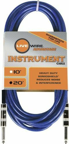 Live Wire Soundhose Instrument Cable Blue 20 Feet by Live Wire. $19.99. Live Wire Soundhose Instrument Cables are packed with pro features that ensure not only great sound, but lasting performance and durability. Superior wiring and strong soldering mean Soundhose cables deliver clear sound with less noise and frequency loss. Your rig is only as strong as the weakest link in your chain. So choose cables that protect your tone. Plug in with Live Wire Soundhose Instrument Cables.