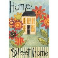 Home Sweet Home Garden Flag Mini House Flowers Stripes Azulejos Diy, Fabric Softener Sheets, Pintura Country, Country Paintings, Gif Animé, Flag Decor, House Flags, Tole Painting, Whimsical Art