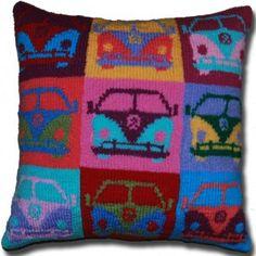 Andy Warhol inspired pop art knit campervan cushion $