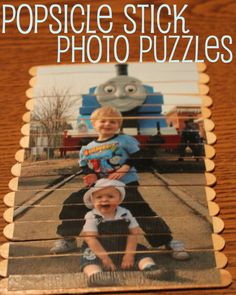 Popsicle Stick Photo Puzzles. What a cute, simple idea. Totally doing this today!