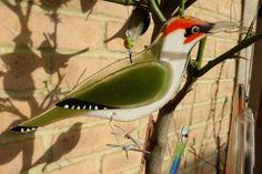Fused glass green woodpecker - bird lover gift - garden birds - british birds - nature lover gift - garden ornament - british wildlife