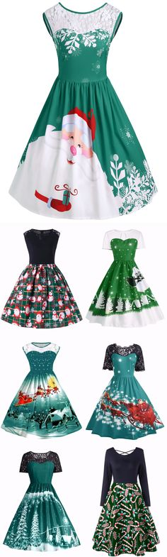#Green #Christmas Up To 60% OFF | Start From $5 | Green Christmas Vintage Dress | Sammydress.com