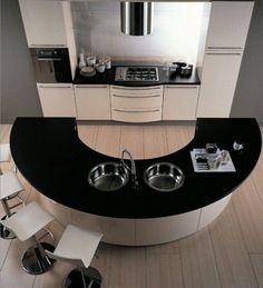 Cuisine avec îlot central en demi-cercle http://www.homelisty.com/cuisine-avec-ilot-central-43-idees-inspirations/