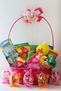 Fun items to put in easter baskets found in the dollar section of toddler easter basket filled with lots of dollar section finds negle Choice Image