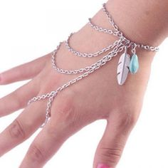 4.1$  Buy now - http://dixnb.justgood.pw/go.php?t=144641401 - Feather Multiayered Faux Turquoise Bracelet 4.1$
