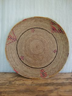 "Antique Native American Indian Basket- Large Flat Coil Woven Grass Pinwheel Geometric Triangle Arrows - 19"" on Etsy, $82.99"