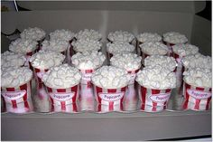 Popcorn cupcakes - I made 40 of these for my nieces carnival birthday party.  They are cupcakes with mini marshmellows on top.  I slid the cupcakes into a liner that I colored red and printed 'popcorn' stickers on my computer.  Thanks to fellow CCers for inspiration and ideas.