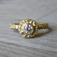 Diamond Twig Halo Ring in Yellow Gold Quarter by kristincoffin, $850.00