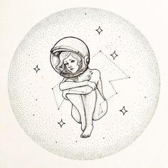 @juanmicontreras me acordé de ti regram @kokorocolectivo Tú, vestida de noche. Astronauta de piel espacial que lleva las mejores estrellas brillando discretas en su traje. #inktober de @srta_do . . . #inktober2016 #art #drawing #illustration #astronaut #creative #artcolective #kokorocolectivo #sketch #sketchbook #blackandwhite #ink