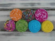 Tropical fabric rosettes by sugarsugarhigh on Etsy, $10.00