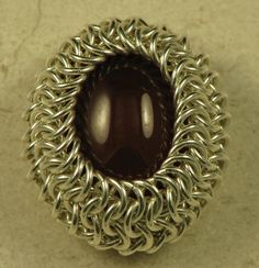 how to wrap a cabochon in chain maille.