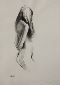 """Life Drawing - Charcoal Figure"" by Pauline Adair 