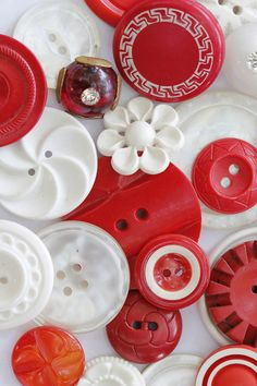 Vintage Red and White Buttons  via Tracey Eggers