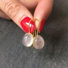 Rose Quartz drop earrings on Gold Fill hooks - January Birthstone jewellery gift