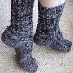 Ribbed Faux Cable Socks knitting pattern by KBJ Designs available to purchase through PATTERNFISH Weaving Patterns, Stitch Patterns, Knitting Patterns, Crochet Patterns, Knitting Socks, Hand Knitting, Knit Socks, Knitting Videos, Fingering Yarn