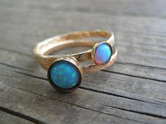 Opalring Anweisung Ringe Gold Stapeln Ringe von AnnalisJewelry