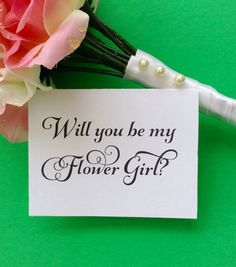 Wedding Card Flower Girl Will you Be My Note by OverTheMoonBridal