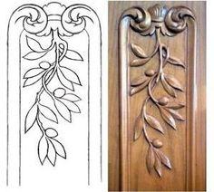 Pilastra con hojas de olivo. Dibujo y obra del autor.