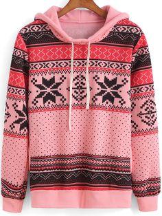 Pink Hooded Tribal Snowflake Print Sweatshirt