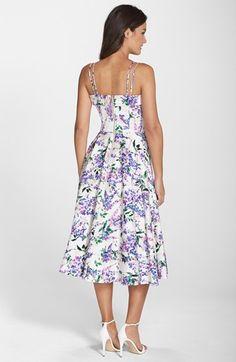 Maggy Londres Impressão floral Fit & Alargamento Midi Vestido (Ordinário & Petite)   Nordstrom