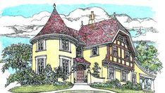 Plan 11605GC: Turreted Tudor Cottage Tudor Cottage, Tudor House, Cottage Plan, Rustic Cottage, Cottage House, Storybook Homes, Storybook Cottage, Master Suite, Master Bedrooms