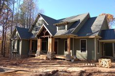 Architecture Inspiration. The Legendary Craftman Style Homes In Designs And Pictures: Favored Craftsman Style Homes With Great Pair Of Pillars Verandas With Grey Wall Outdoor Painted As Well As Cool Country Roofing With White Windows Frames As Inspiring Country Facade Design Ideas