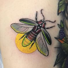 Patrick Whiting - Lightning bug from a little while back ⚡️ Thank you Christine! Badass Tattoos, Fake Tattoos, Pretty Tattoos, Sexy Tattoos, Body Art Tattoos, Small Tattoos, Sleeve Tattoos, Beetle Tattoo, Bug Tattoo
