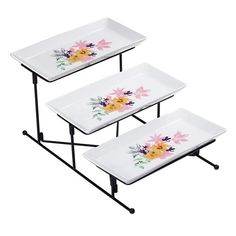 The Savannah Blooms Collection: from floral plateware and patterns that pop treat guests to a charming afternoon. Repurposed Furniture, Painted Furniture, Tiered Server, Living On A Budget, Cooking Gadgets, Elegant Table, Serving Dishes, Savannah Chat, Cool Kitchens