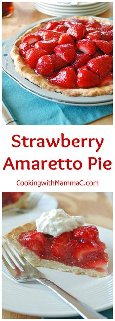 This refreshing Strawberry Amaretto Pie has a no-roll amaretto crust, a strawberry-amaretto filling and is served with almond whipped cream. It's so delicious!