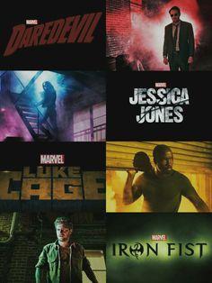 The Defenders. Daredevil/Matt Murdock, Jessica Jones, Luke Cage, and Iron Fist/Danny Rand unite to defend New York. Marvel. Netflix.