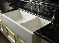 ROHL Shaws Original 1 1/2 Bowl Fireclay Apron Kitchen Sink - kitchen sinks - Rohl