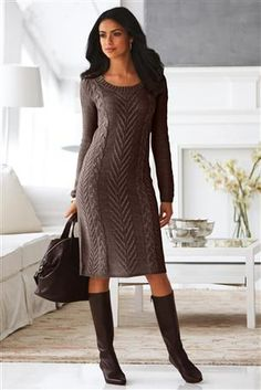 Cable Knit Sweater Dress. This would be beautiful in black or white with opposite color stockings and black or white boots!